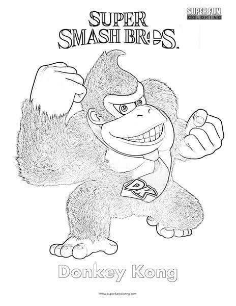 Donkey Kong Super Smash Brothers Coloring Page Super Fun