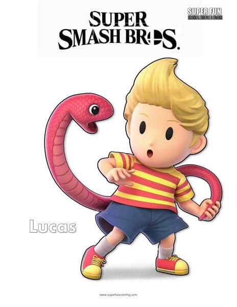 Lucas- Super Smash Bros. Ultimate Nintendo Coloring Page