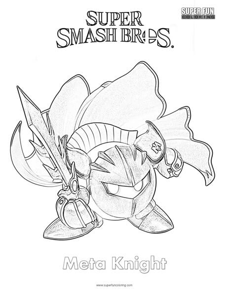 Meta Knight Super Smash Brothers Coloring Page