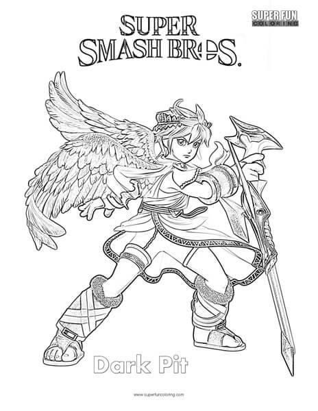 dark coloring pages Dark Pit  Super Smash Brothers Coloring Page   Super Fun Coloring dark coloring pages