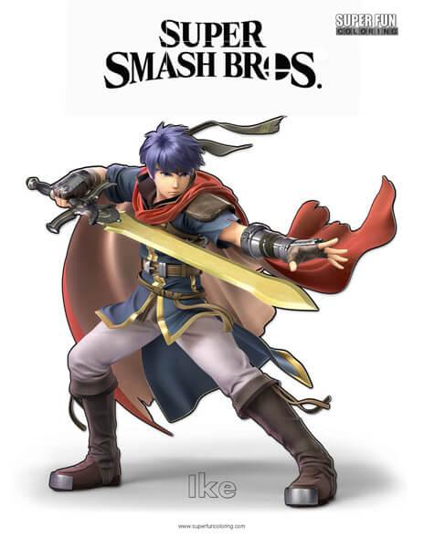 Ike- Super Smash Bros. Ultimate Nintendo Coloring Page