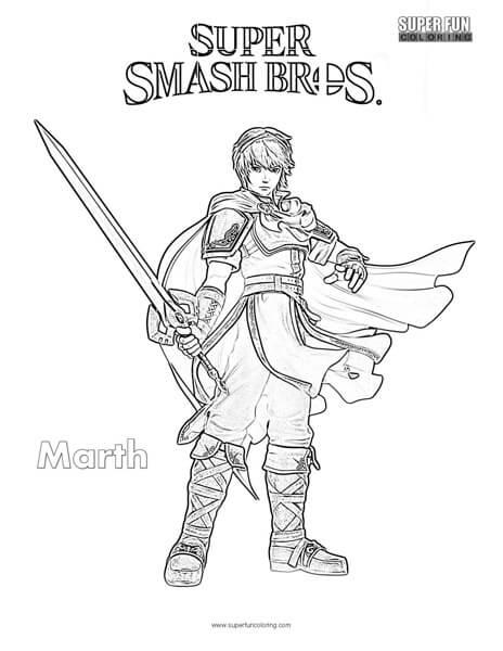 Marth Super Smash Brothers Coloring Page Super Fun Coloring - Super-smash-bros-coloring-pages