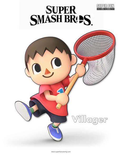 Villager- Super Smash Bros. Ultimate Nintendo Coloring Page