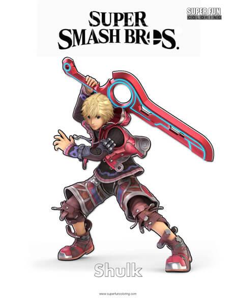 Shulk- Super Smash Bros. Ultimate Nintendo Coloring Page