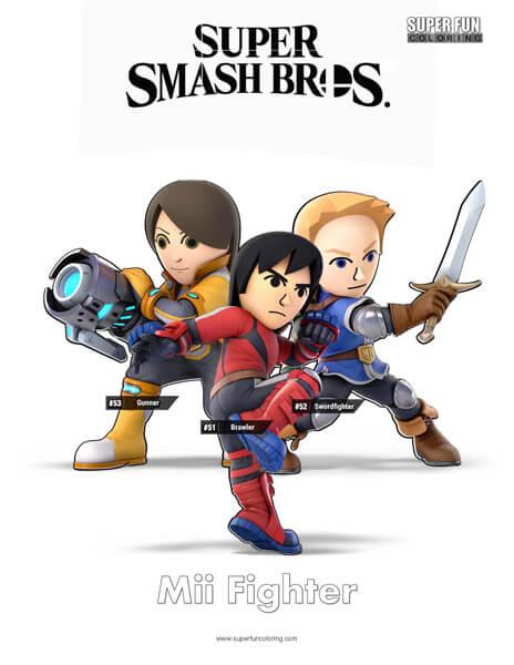 Mii Fighter- Super Smash Bros. Ultimate Nintendo Coloring Page