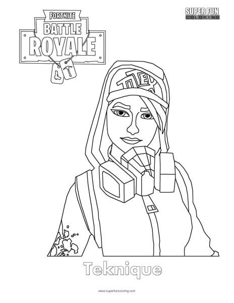 Teknique Fortnite Coloring Page