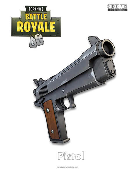 Pistol Fortnite Coloring Page