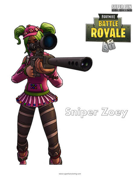 Fortnite Zoey Sniper Coloring Page