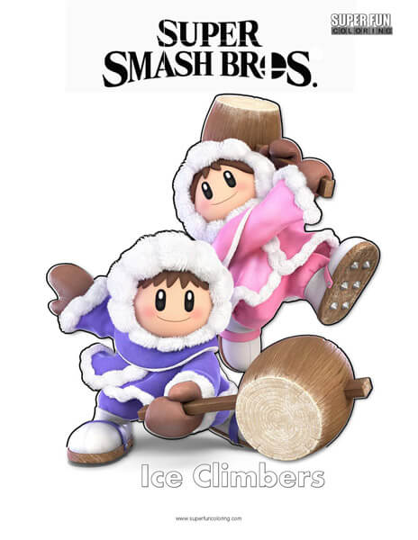 Ice Climbers- Super Smash Bros. Ultimate Nintendo Coloring Page