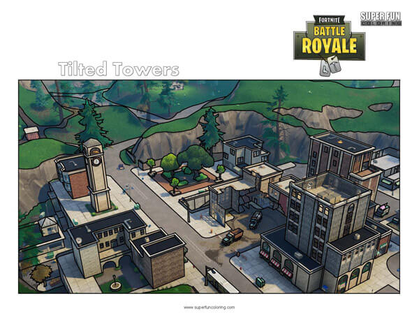 Fortnite Tilted Towers Coloring Page