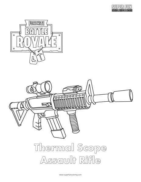 Thermal Scope Assault Rifle Fortnite Coloring Page Super Fun Coloring