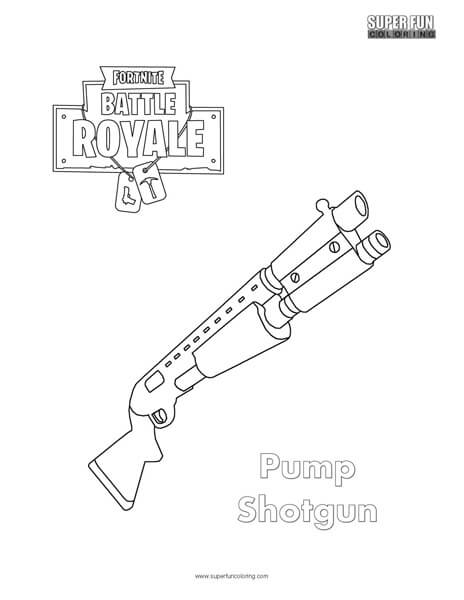 Fortnite weapons super fun coloring for Shotgun coloring pages