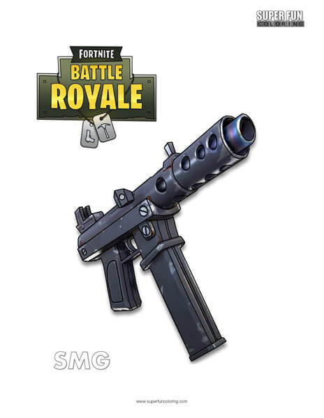 SMG Fortnite Coloring Page