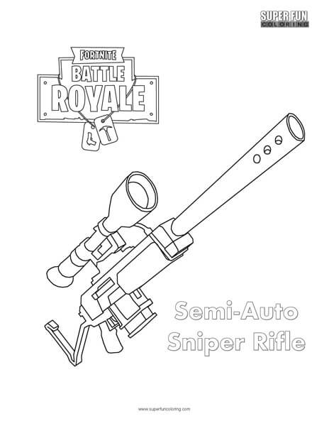 Semi Auto Sniper Fortnite Coloring Page Super Fun Coloring