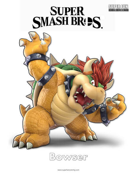 Bowser Super Smash Brothers Coloring Page Super Fun Coloring