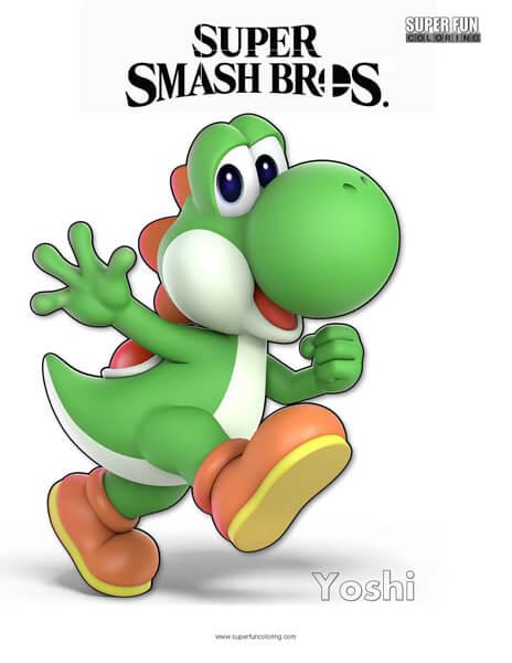 Yoshi- Super Smash Bros. Ultimate Nintendo Coloring Page