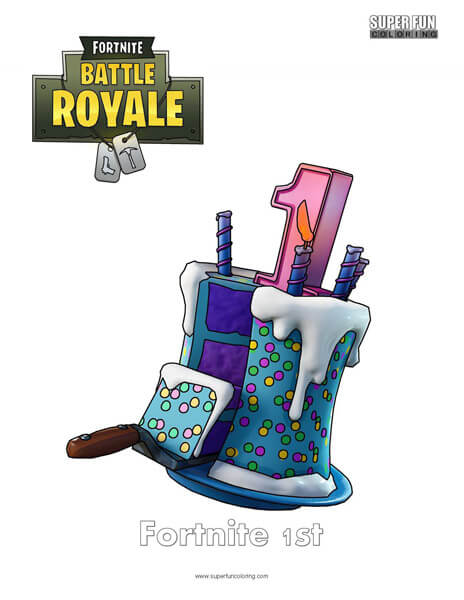 Fortnite 1st Birthday Coloring Page