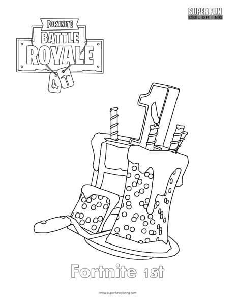 Fortnite 1st Birthday Cake Coloring Page