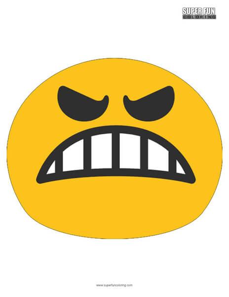 Google Angry Emoji Coloring Page