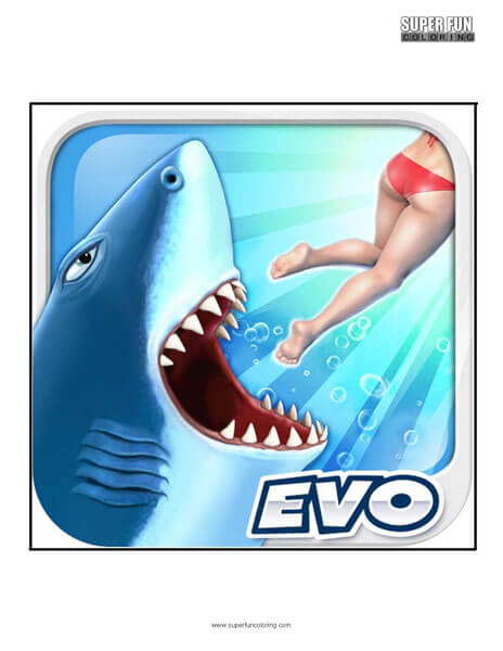 Hungry Shark App Coloring Page Android Iphone