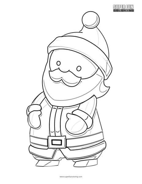 Cartoon Santa Christmas Coloring Page Super Fun Coloring