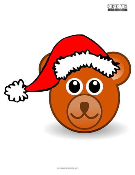 Santa Bear Christmas Coloring Page